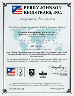 Perry Johnson Registrars certificate